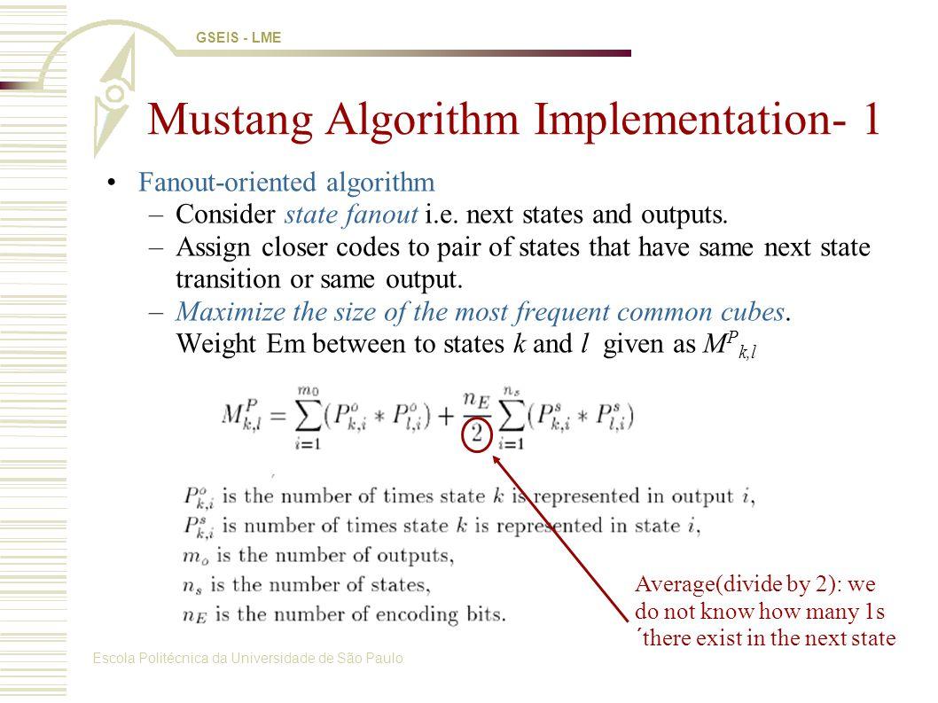 Escola Politécnica da Universidade de São Paulo GSEIS - LME Mustang Algorithm Implementation- 1 Fanout-oriented algorithm –Consider state fanout i.e.