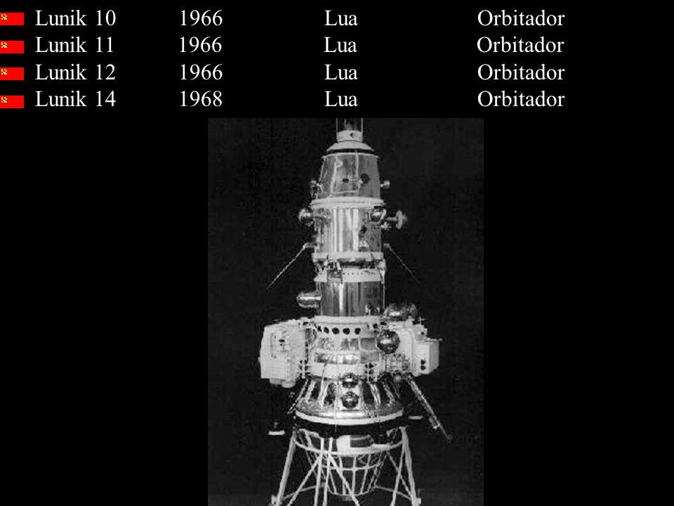Lunik 10 1966 Lua Orbitador Lunik 11 1966 Lua Orbitador Lunik 12 1966 Lua Orbitador Lunik 14 1968 Lua Orbitador