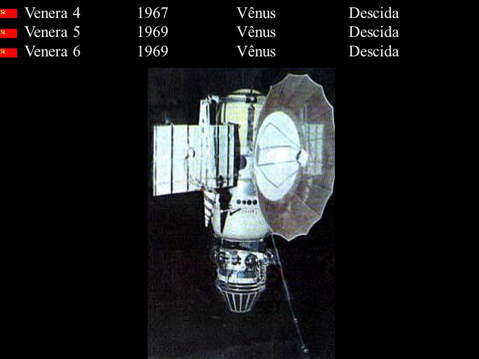 Venera 4 1967 Vênus Descida Venera 5 1969 Vênus Descida Venera 6 1969 Vênus Descida