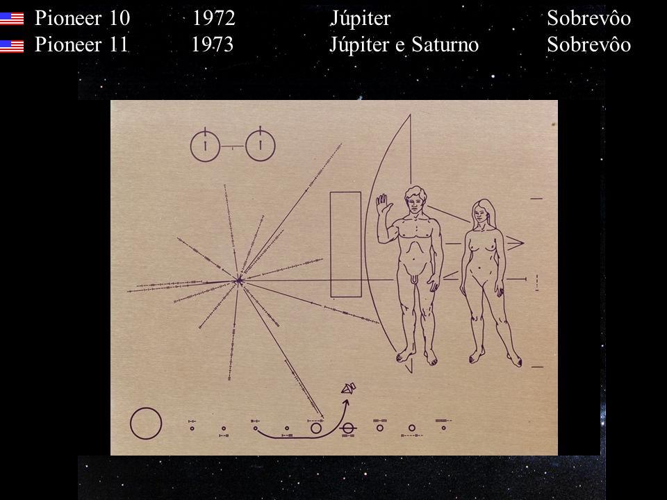 Pioneer 10 1972 Júpiter Sobrevôo Pioneer 11 1973 Júpiter e Saturno Sobrevôo