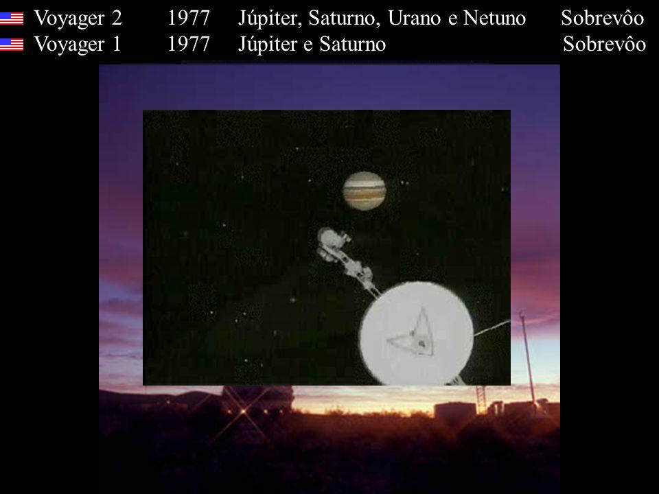 Voyager 2 1977 Júpiter, Saturno, Urano e Netuno Sobrevôo Voyager 1 1977 Júpiter e Saturno Sobrevôo