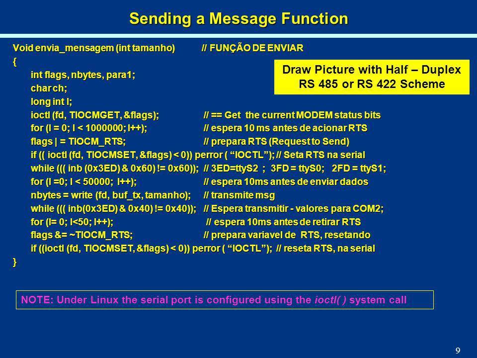 9 Void envia_mensagem (int tamanho) // FUNÇÃO DE ENVIAR { int flags, nbytes, para1; char ch; long int I; ioctl (fd, TIOCMGET, &flags); // == Get the c