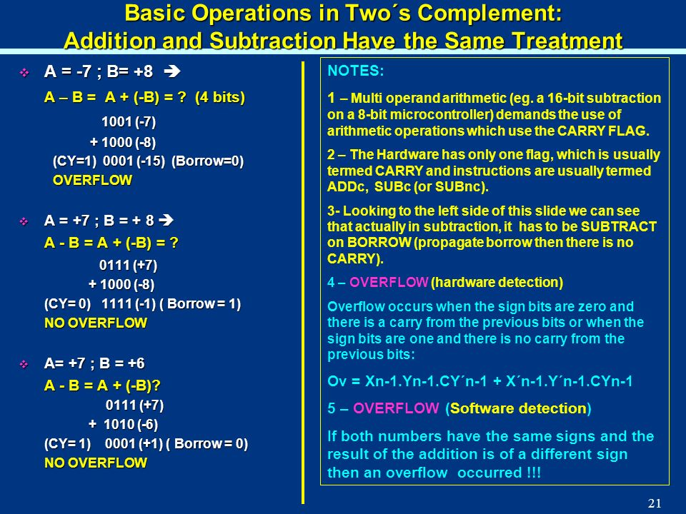 21 Basic Operations in Two´s Complement: Addition and Subtraction Have the Same Treatment A = -7 ; B= +8 A = -7 ; B= +8 A – B = A + (-B) = ? (4 bits)