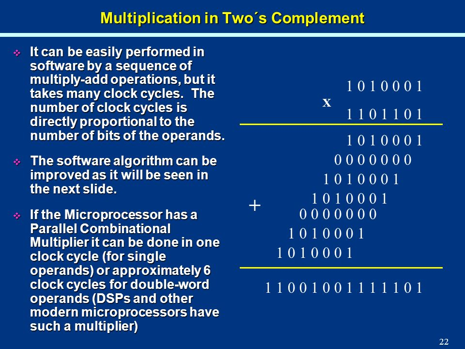 22 Multiplication in Two´s Complement It can be easily performed in software by a sequence of multiply-add operations, but it takes many clock cycles.