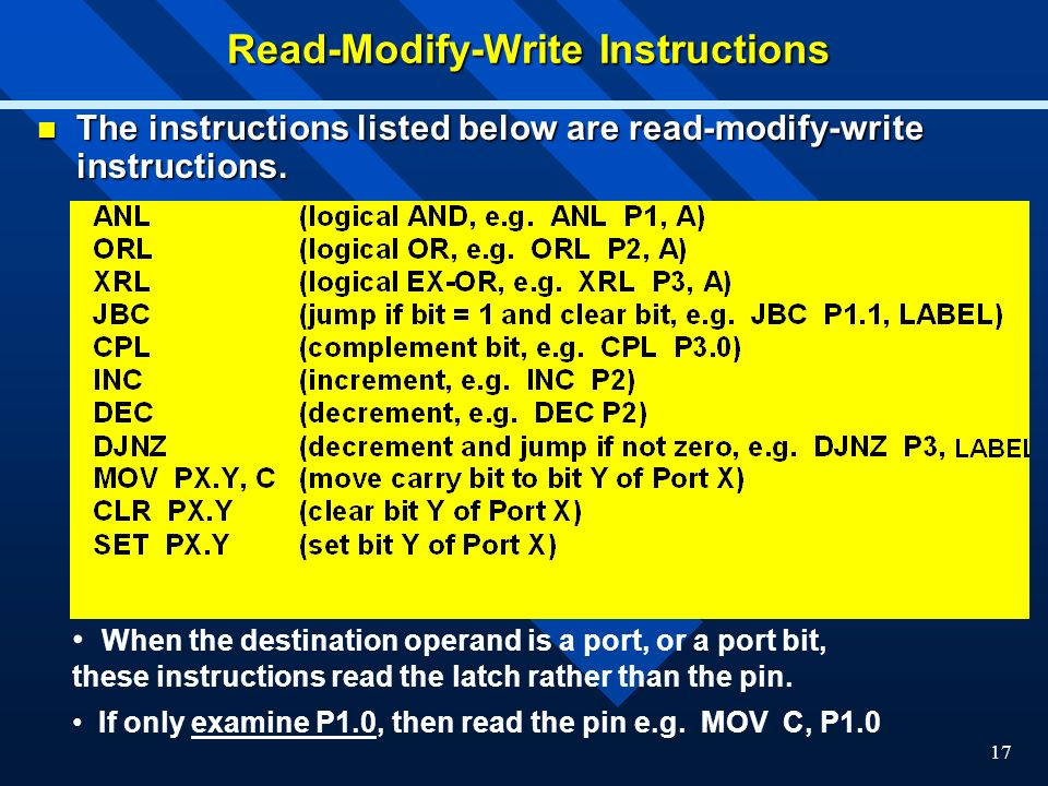 17 Read-Modify-Write Instructions The instructions listed below are read-modify-write instructions.
