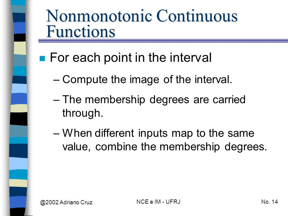 @2002 Adriano Cruz NCE e IM - UFRJNo. 14 Nonmonotonic Continuous Functions n For each point in the interval –Compute the image of the interval. –The m