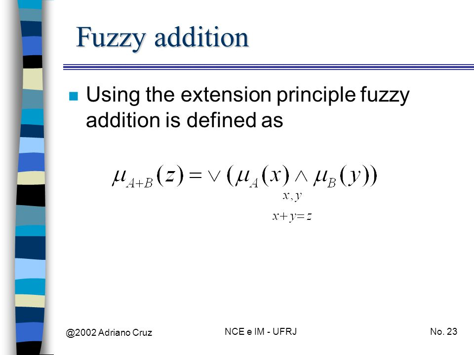 @2002 Adriano Cruz NCE e IM - UFRJNo. 23 Fuzzy addition n Using the extension principle fuzzy addition is defined as