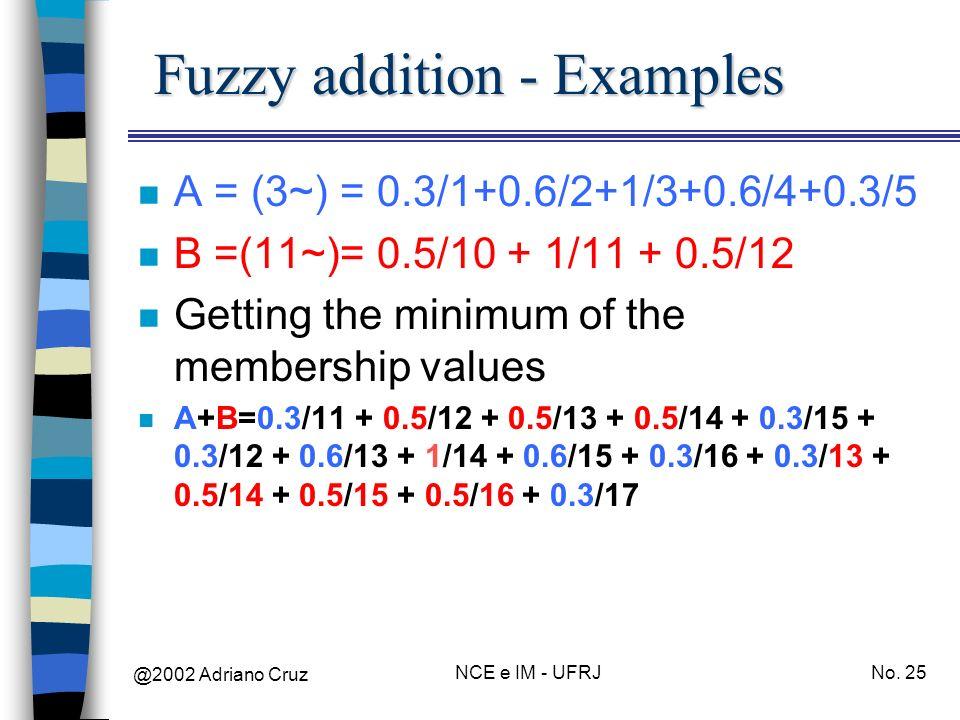 @2002 Adriano Cruz NCE e IM - UFRJNo. 25 Fuzzy addition - Examples n A = (3~) = 0.3/1+0.6/2+1/3+0.6/4+0.3/5 n B =(11~)= 0.5/10 + 1/11 + 0.5/12 n Getti