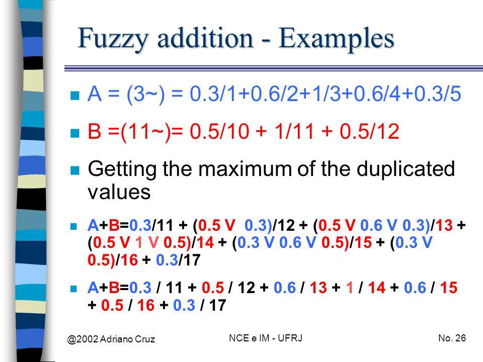 @2002 Adriano Cruz NCE e IM - UFRJNo. 26 Fuzzy addition - Examples n A = (3~) = 0.3/1+0.6/2+1/3+0.6/4+0.3/5 n B =(11~)= 0.5/10 + 1/11 + 0.5/12 n Getti