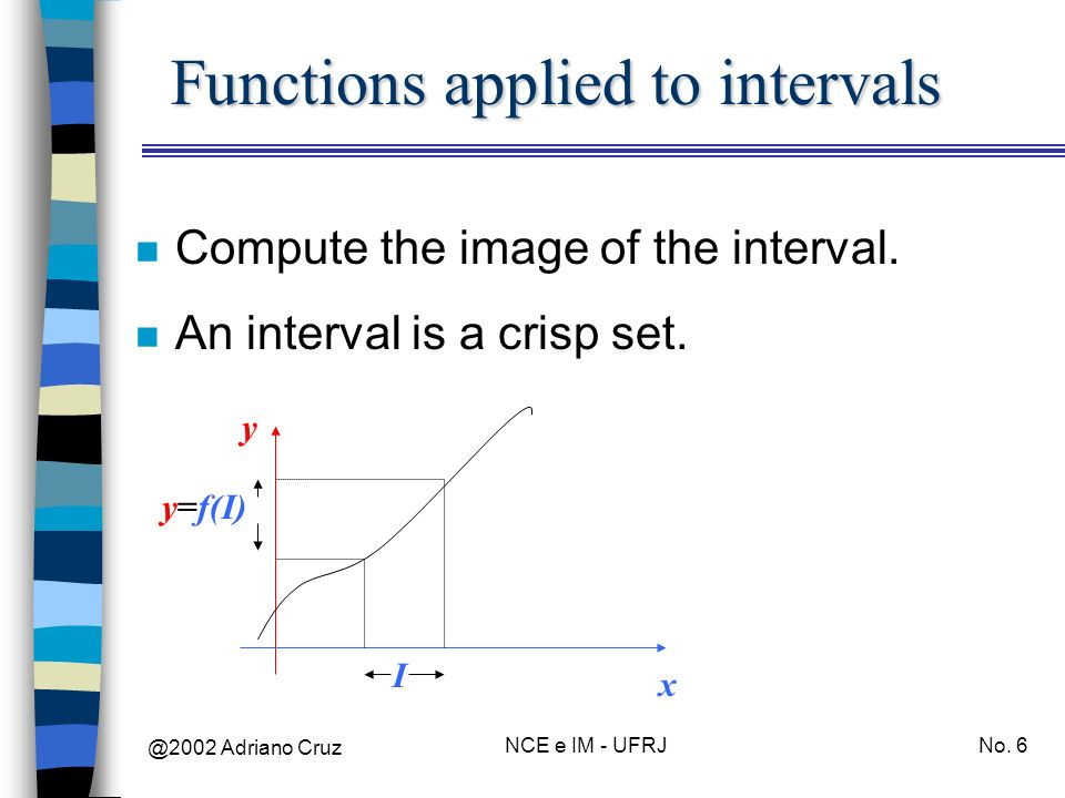 @2002 Adriano Cruz NCE e IM - UFRJNo. 6 Functions applied to intervals n Compute the image of the interval. n An interval is a crisp set. x y I y=f(I)