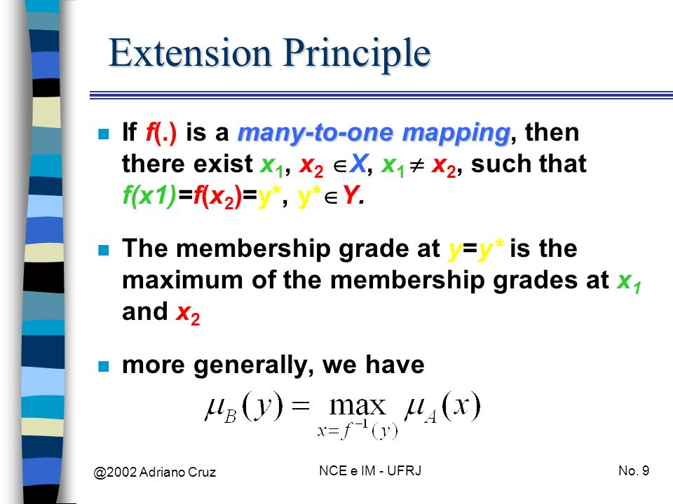 @2002 Adriano Cruz NCE e IM - UFRJNo. 9 Extension Principle many-to-one mapping n If f(.) is a many-to-one mapping, then there exist x 1, x 2 X, x 1 x