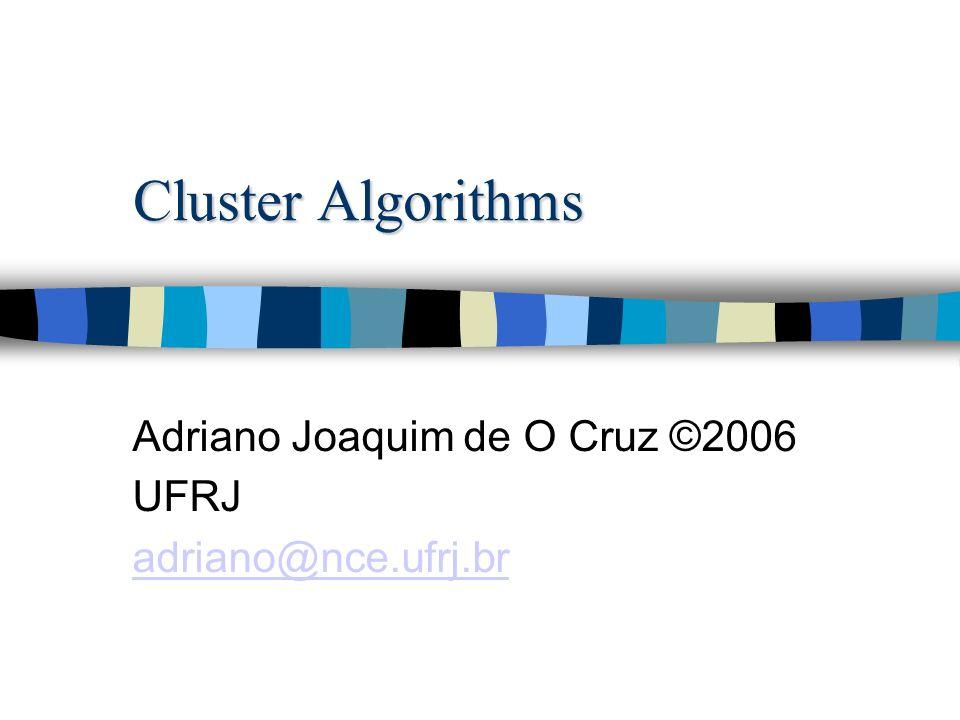 Cluster Algorithms Adriano Joaquim de O Cruz ©2006 UFRJ adriano@nce.ufrj.br