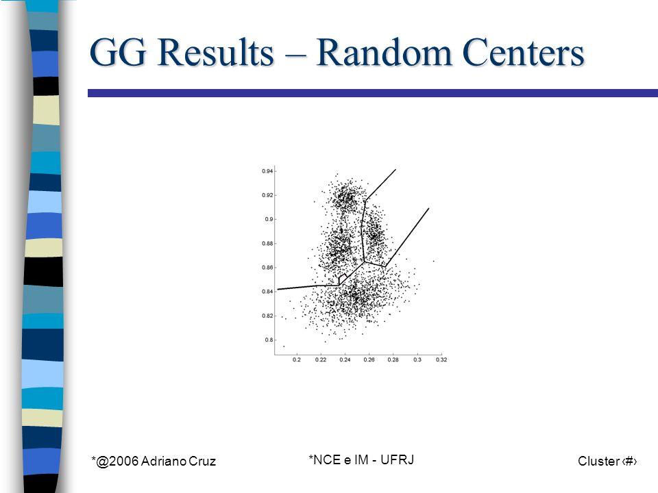 *@2006 Adriano Cruz *NCE e IM - UFRJ Cluster 70 GG Results – Random Centers