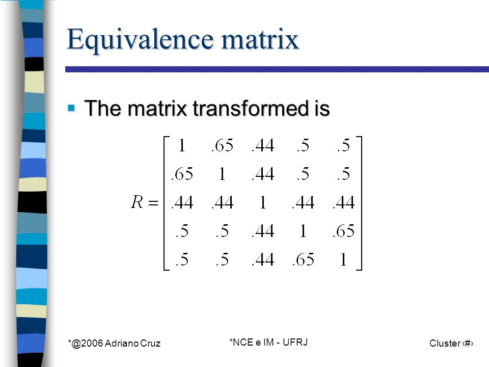 *@2006 Adriano Cruz *NCE e IM - UFRJ Cluster 87 Equivalence matrix The matrix transformed is The matrix transformed is