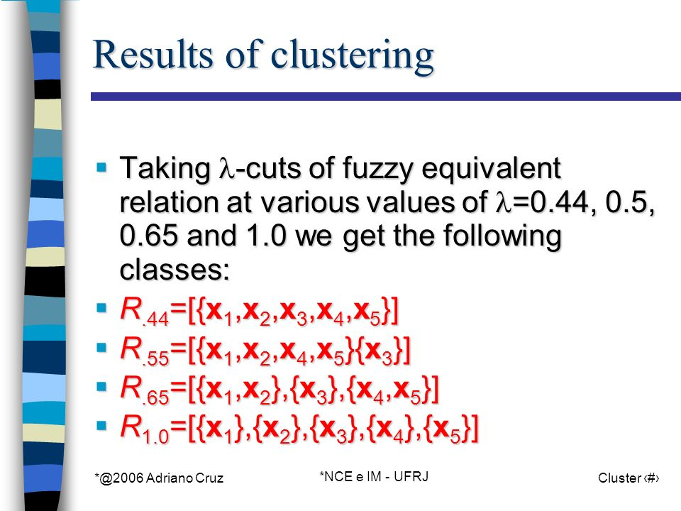 *@2006 Adriano Cruz *NCE e IM - UFRJ Cluster 88 Results of clustering Taking -cuts of fuzzy equivalent relation at various values of =0.44, 0.5, 0.65 and 1.0 we get the following classes: Taking -cuts of fuzzy equivalent relation at various values of =0.44, 0.5, 0.65 and 1.0 we get the following classes: R.44 =[{x 1,x 2,x 3,x 4,x 5 }] R.44 =[{x 1,x 2,x 3,x 4,x 5 }] R.55 =[{x 1,x 2,x 4,x 5 }{x 3 }] R.55 =[{x 1,x 2,x 4,x 5 }{x 3 }] R.65 =[{x 1,x 2 },{x 3 },{x 4,x 5 }] R.65 =[{x 1,x 2 },{x 3 },{x 4,x 5 }] R 1.0 =[{x 1 },{x 2 },{x 3 },{x 4 },{x 5 }] R 1.0 =[{x 1 },{x 2 },{x 3 },{x 4 },{x 5 }]