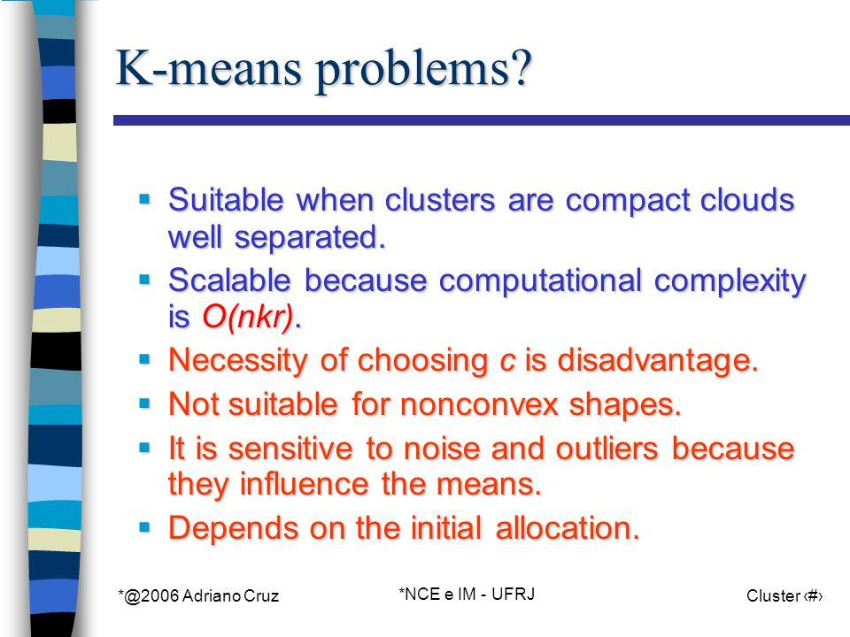 *@2006 Adriano Cruz *NCE e IM - UFRJ Cluster 21 K-means problems.