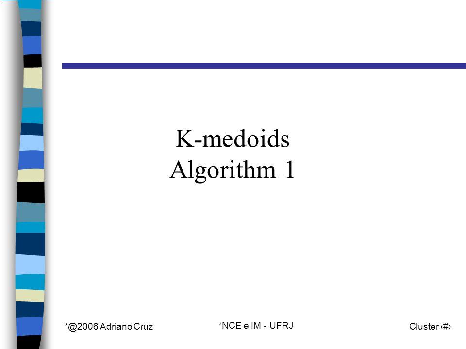 *@2006 Adriano Cruz *NCE e IM - UFRJ Cluster 26 K-medoids Algorithm 1