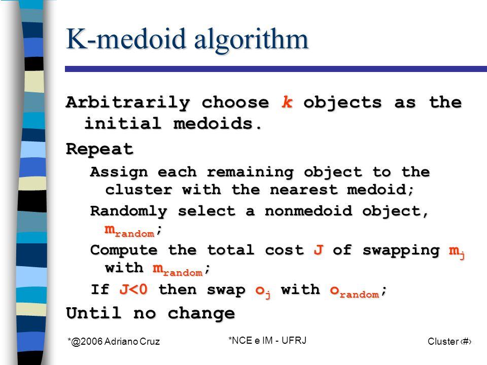 *@2006 Adriano Cruz *NCE e IM - UFRJ Cluster 45 K-medoid algorithm Arbitrarily choose k objects as the initial medoids.