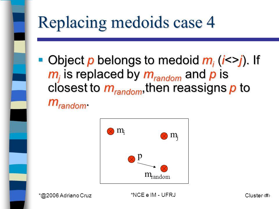 *@2006 Adriano Cruz *NCE e IM - UFRJ Cluster 49 m random Replacing medoids case 4 Object p belongs to medoid m i (i<>j).
