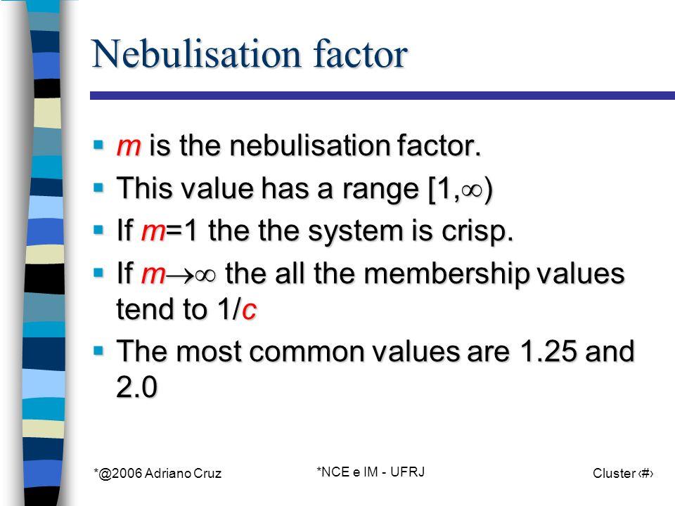 *@2006 Adriano Cruz *NCE e IM - UFRJ Cluster 61 Nebulisation factor m is the nebulisation factor.