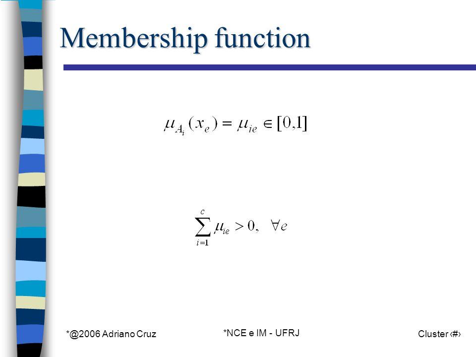 *@2006 Adriano Cruz *NCE e IM - UFRJ Cluster 69 Membership function