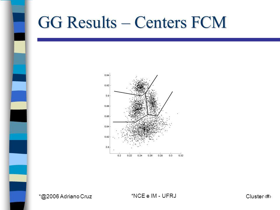 *@2006 Adriano Cruz *NCE e IM - UFRJ Cluster 86 GG Results – Centers FCM