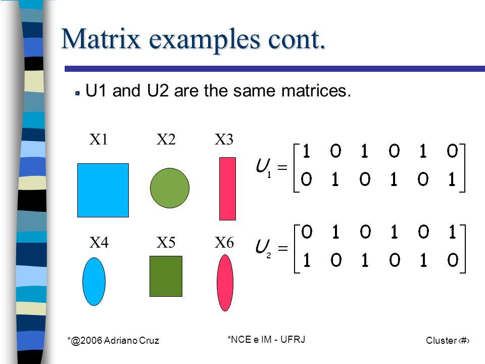 *@2006 Adriano Cruz *NCE e IM - UFRJ Cluster 9 Matrix examples cont.
