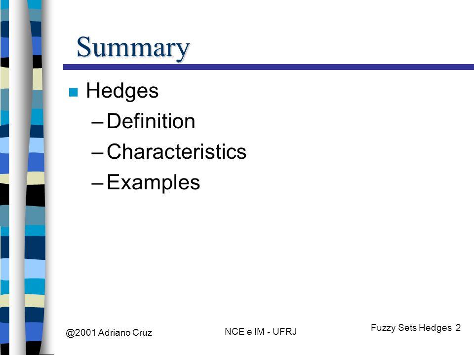 @2001 Adriano Cruz NCE e IM - UFRJ Fuzzy Sets Hedges 2 Summary Hedges –Definition –Characteristics –Examples