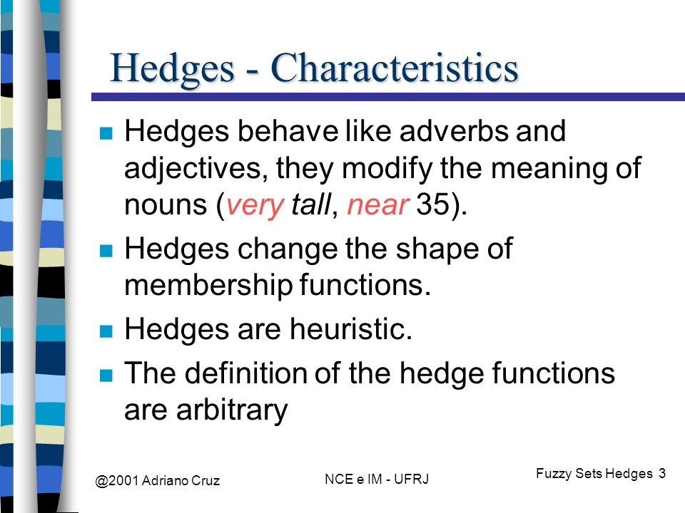 @2001 Adriano Cruz NCE e IM - UFRJ Fuzzy Sets Hedges 3 Hedges - Characteristics Hedges behave like adverbs and adjectives, they modify the meaning of nouns (very tall, near 35).