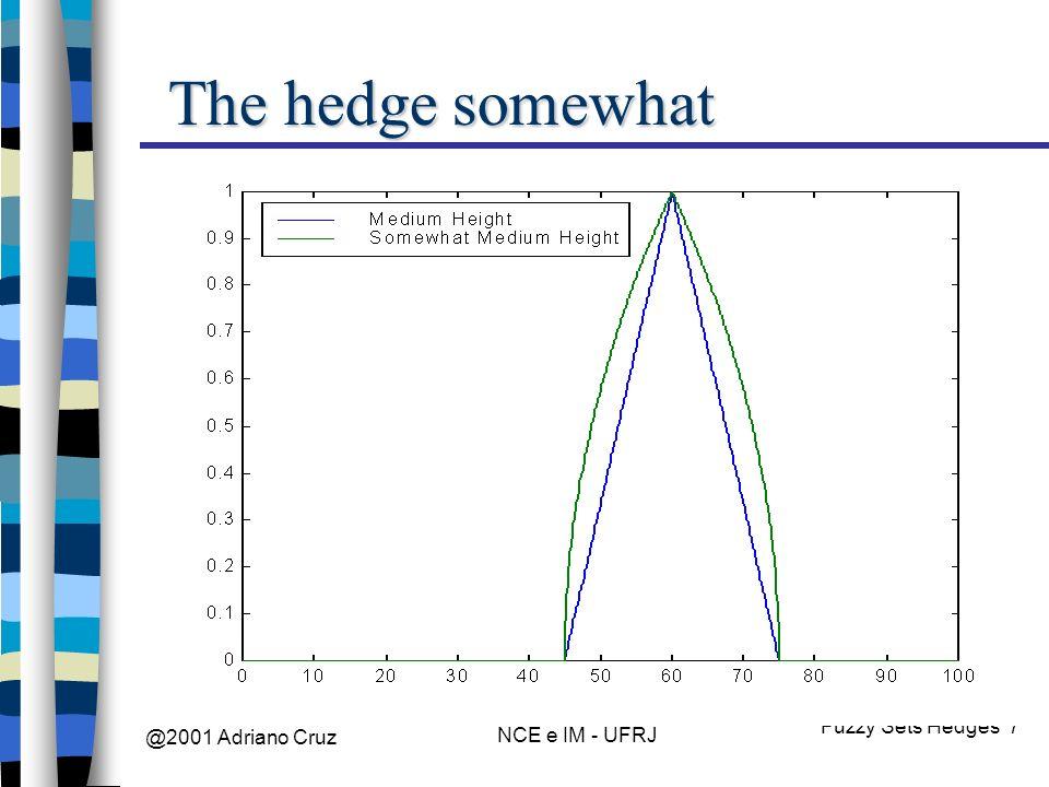 @2001 Adriano Cruz NCE e IM - UFRJ Fuzzy Sets Hedges 7 The hedge somewhat