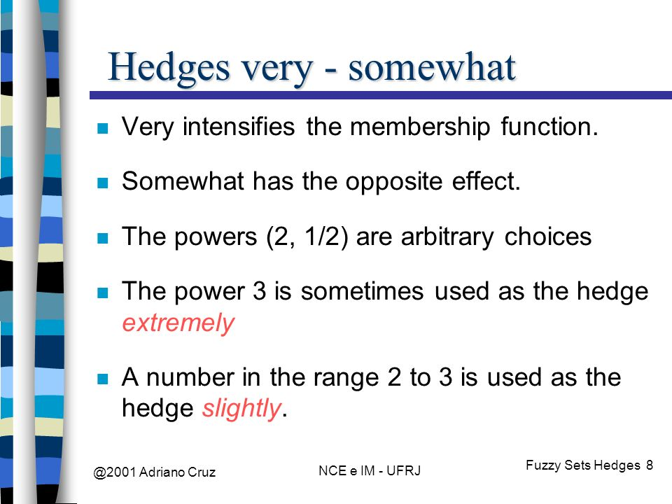 @2001 Adriano Cruz NCE e IM - UFRJ Fuzzy Sets Hedges 8 Hedges very - somewhat Very intensifies the membership function.