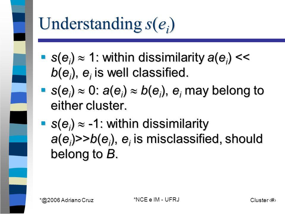 *@2006 Adriano Cruz *NCE e IM - UFRJ Cluster 17 Understanding s(e i ) s(e i ) 1: within dissimilarity a(e i ) << b(e i ), e i is well classified.