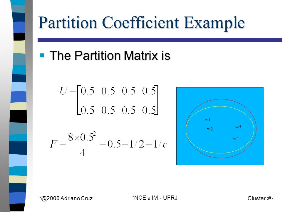 Adriano Cruz *NCE e IM - UFRJ Cluster 30 Partition Coefficient Example The Partition Matrix is The Partition Matrix is w1 w2 w3 w4