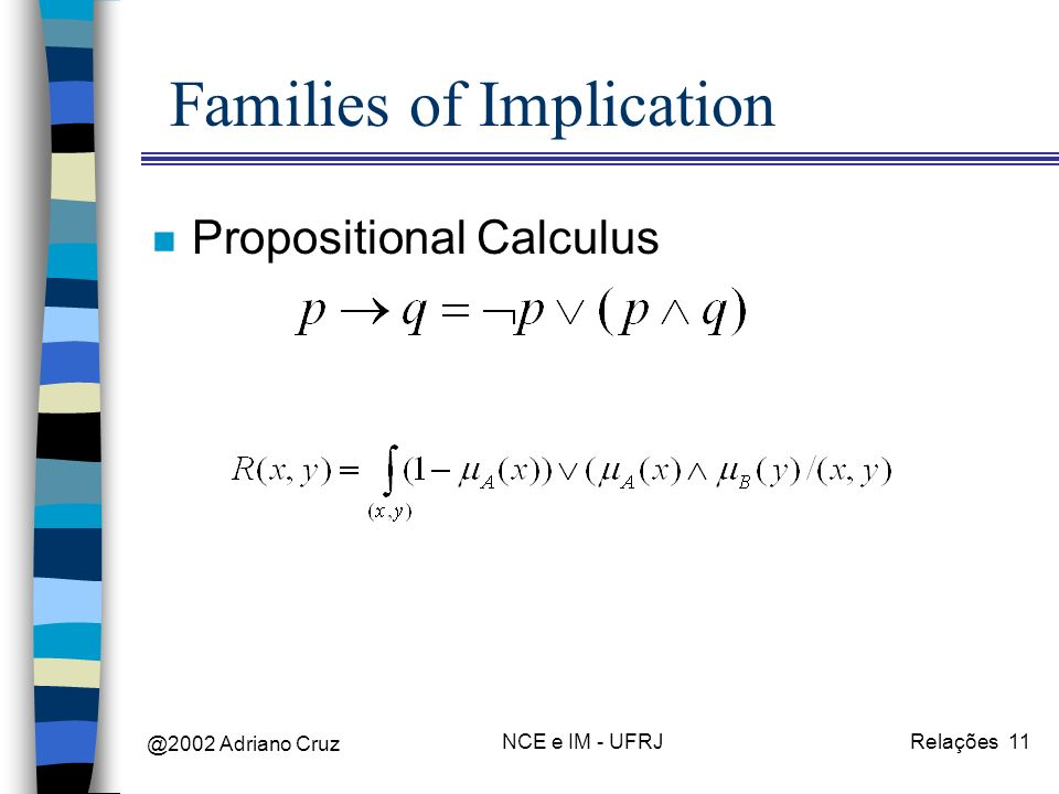 @2002 Adriano Cruz NCE e IM - UFRJRelações 11 Families of Implication n Propositional Calculus