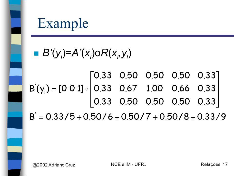 @2002 Adriano Cruz NCE e IM - UFRJRelações 17 Example n B(y i )=A(x i )oR(x i,y i )