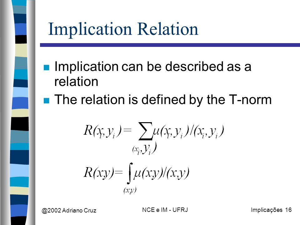 @2002 Adriano Cruz NCE e IM - UFRJImplicações 16 Implication Relation Implication can be described as a relation The relation is defined by the T-norm