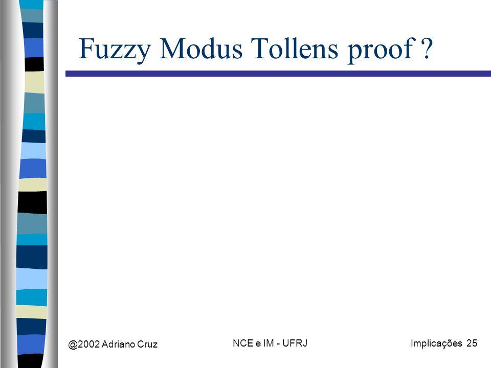 @2002 Adriano Cruz NCE e IM - UFRJImplicações 25 Fuzzy Modus Tollens proof