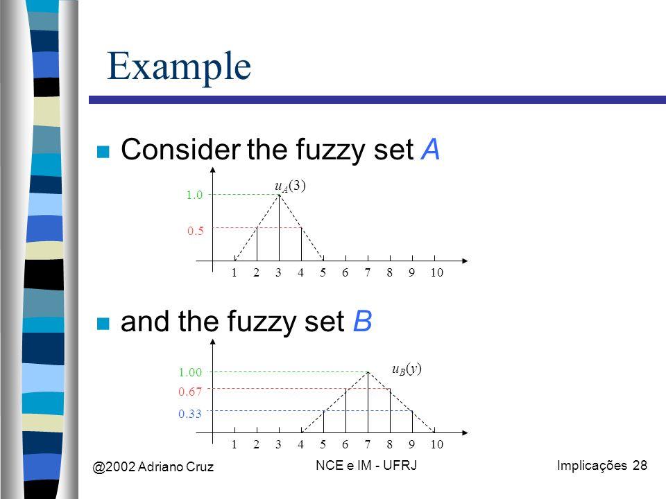 @2002 Adriano Cruz NCE e IM - UFRJImplicações 28 Example Consider the fuzzy set A and the fuzzy set B 12345678910 u A (3) 0.5 1.0 12345678910 uB(y)uB(y) 0.33 0.67 1.00
