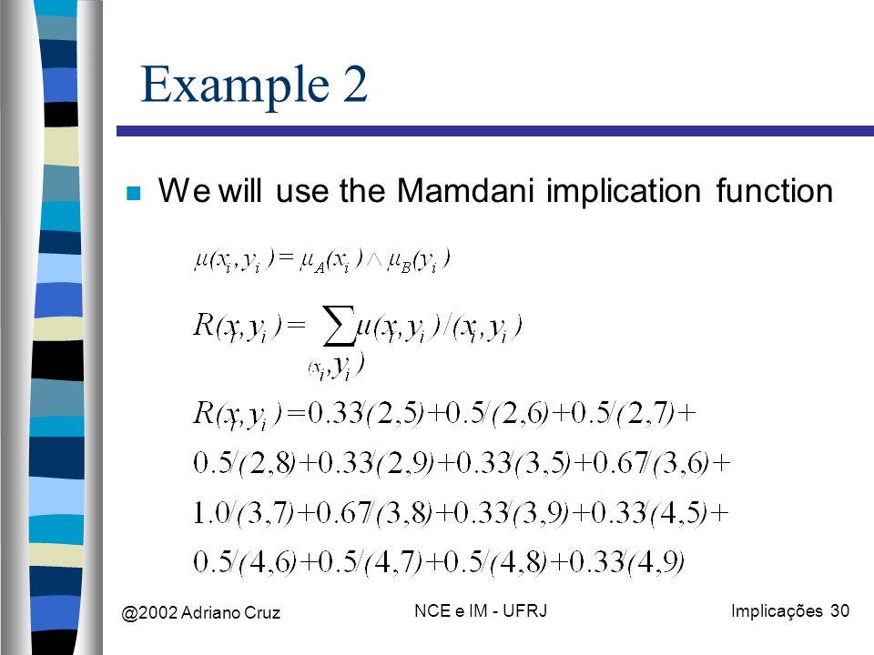 @2002 Adriano Cruz NCE e IM - UFRJImplicações 30 Example 2 We will use the Mamdani implication function