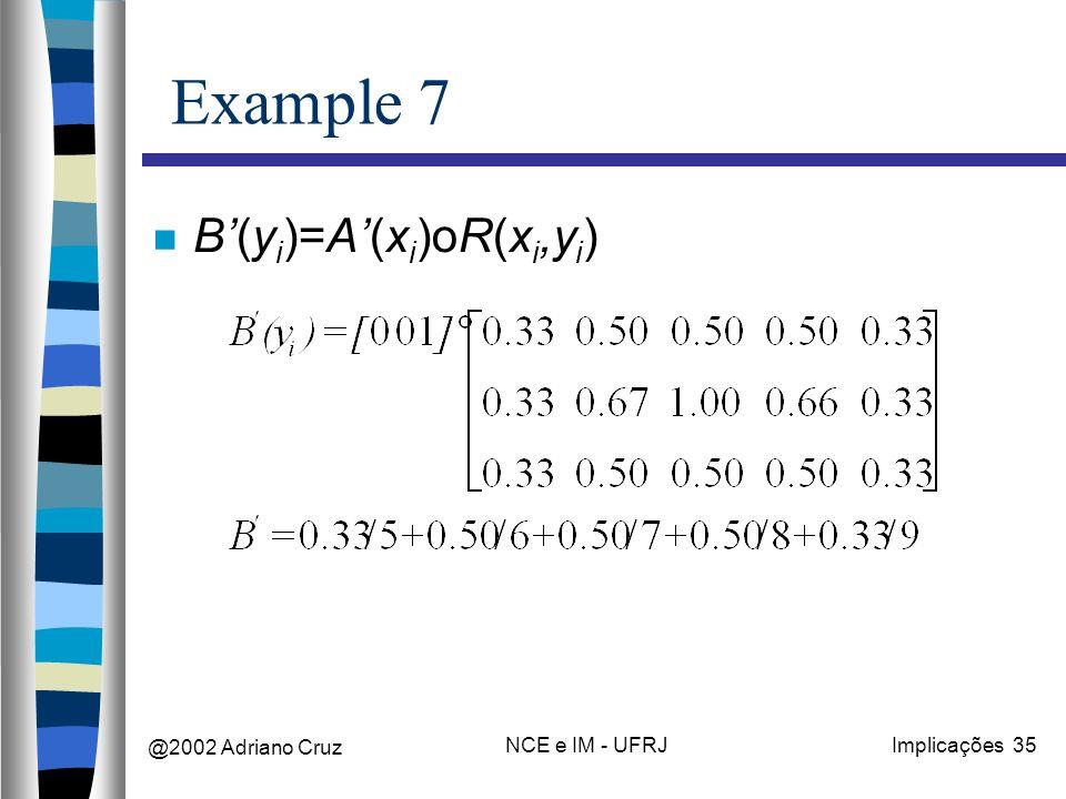 @2002 Adriano Cruz NCE e IM - UFRJImplicações 35 Example 7 B(y i )=A(x i )oR(x i,y i )
