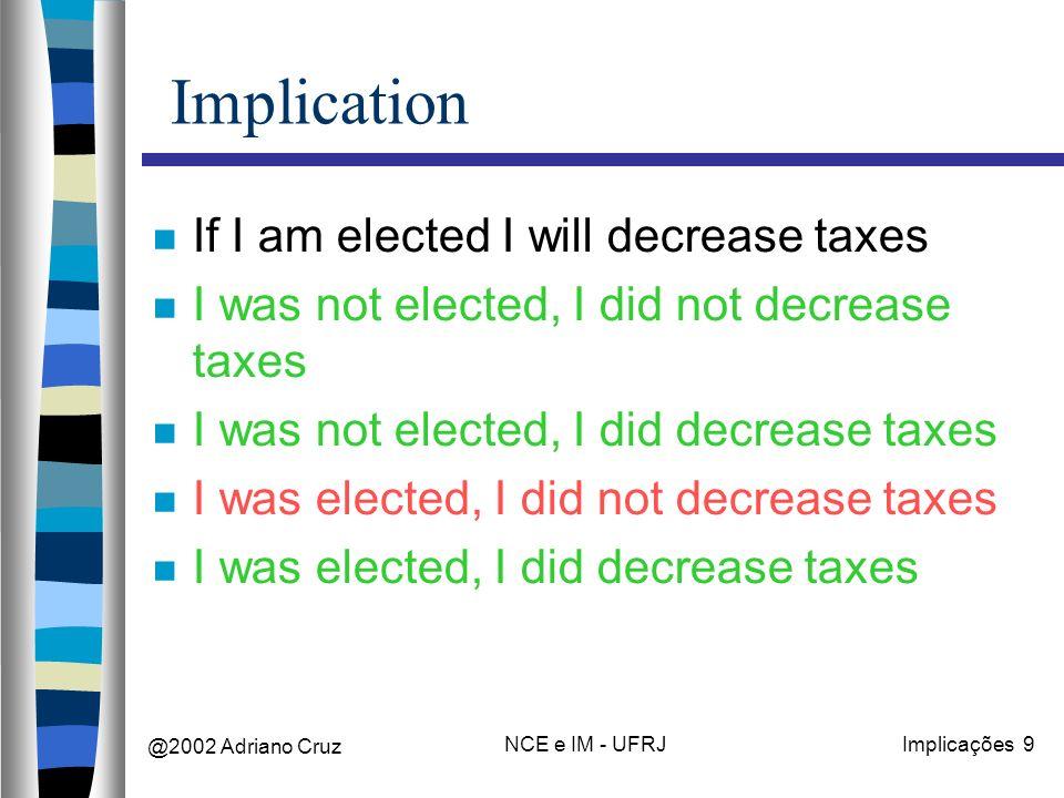 @2002 Adriano Cruz NCE e IM - UFRJImplicações 9 Implication If I am elected I will decrease taxes I was not elected, I did not decrease taxes I was not elected, I did decrease taxes I was elected, I did not decrease taxes I was elected, I did decrease taxes