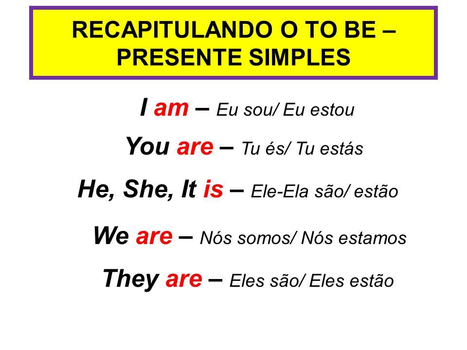 RECAPITULANDO O TO BE – PRESENTE SIMPLES I am – Eu sou/ Eu estou You are – Tu és/ Tu estás He, She, It is – Ele-Ela são/ estão We are – Nós somos/ Nós