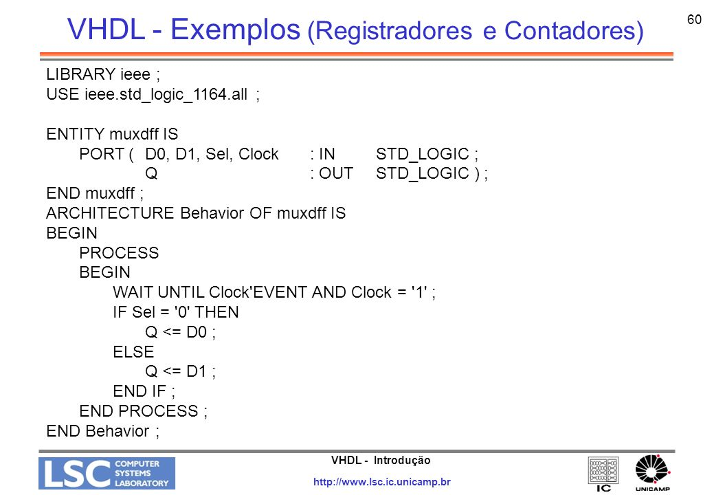 VHDL - Introdução http://www.lsc.ic.unicamp.br 60 LIBRARY ieee ; USE ieee.std_logic_1164.all ; ENTITY muxdff IS PORT (D0, D1, Sel, Clock: IN STD_LOGIC