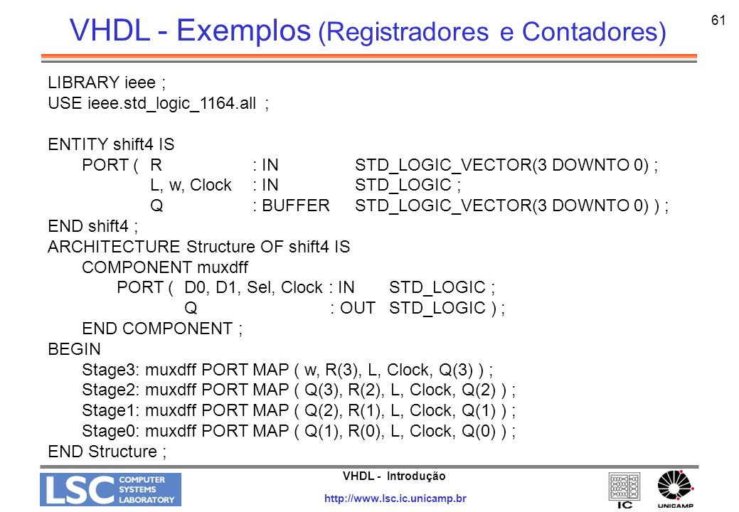 VHDL - Introdução http://www.lsc.ic.unicamp.br 61 LIBRARY ieee ; USE ieee.std_logic_1164.all ; ENTITY shift4 IS PORT ( R : IN STD_LOGIC_VECTOR(3 DOWNT