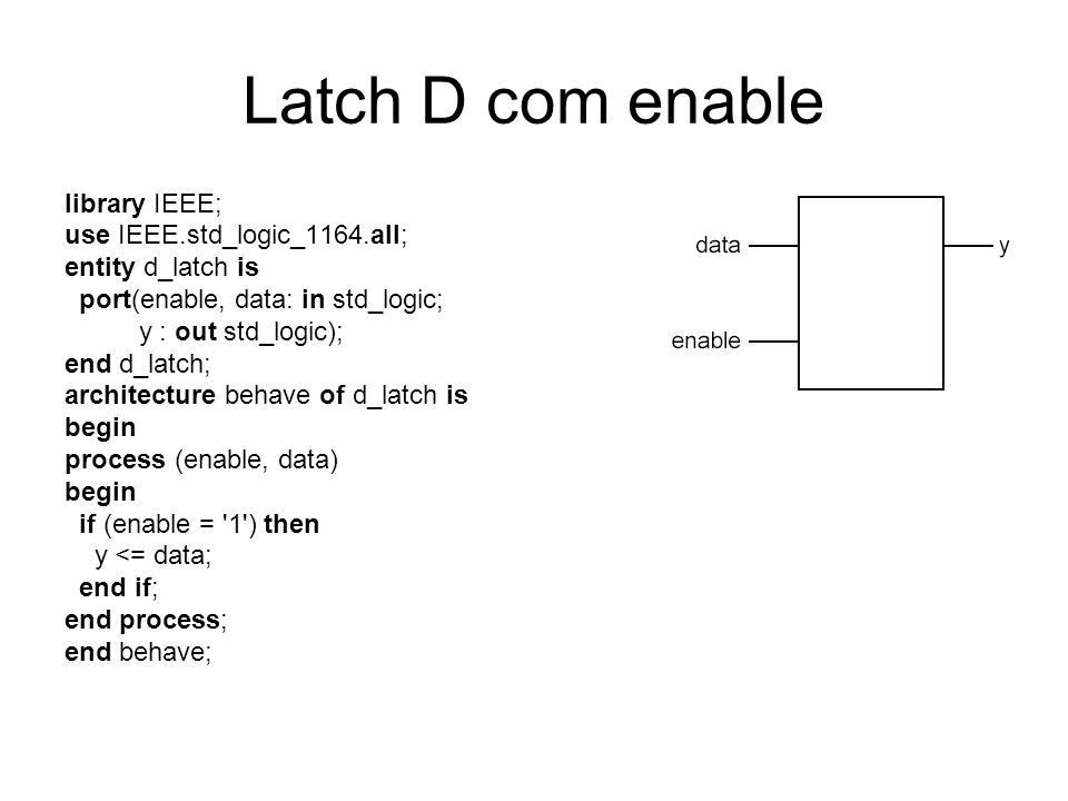 Latch D com enable library IEEE; use IEEE.std_logic_1164.all; entity d_latch is port(enable, data: in std_logic; y : out std_logic); end d_latch; arch