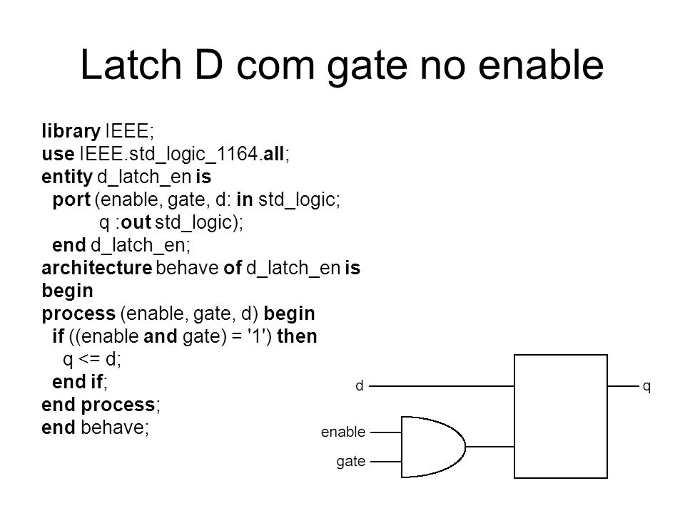 Latch D com gate no enable library IEEE; use IEEE.std_logic_1164.all; entity d_latch_en is port (enable, gate, d: in std_logic; q :out std_logic); end