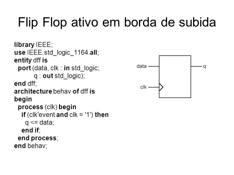 Flip Flop com reset assíncrono library IEEE; use IEEE.std_logic_1164.all; entity dff_async_rst is port (data, clk, reset : in std_logic; q : out std_logic); end dff_async_rst; architecture behav of dff_async_rst is begin process (clk, reset) begin if (reset = 0 ) then q <= 0 ; elsif (clk event and clk = 1 ) then q <= data; end if; end process; end behav;