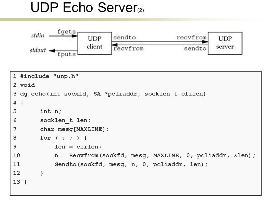 UDP Echo Server (2) 1 #include