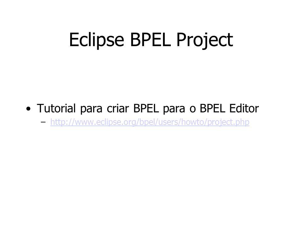 Eclipse BPEL Project Tutorial para criar BPEL para o BPEL Editor –http://www.eclipse.org/bpel/users/howto/project.phphttp://www.eclipse.org/bpel/users