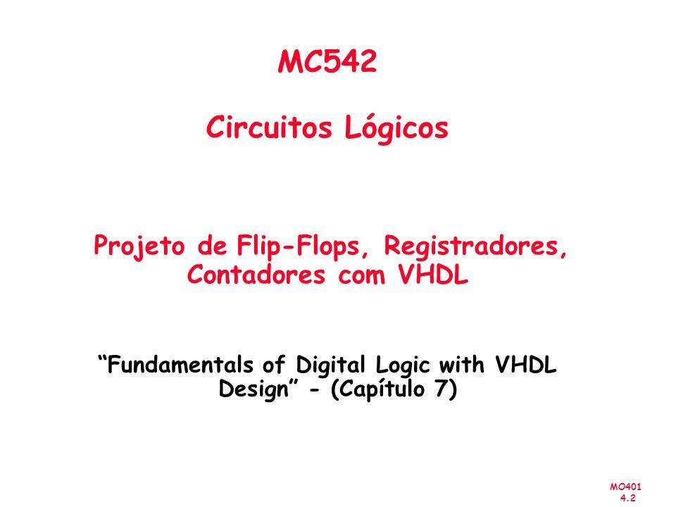 MO401 4.2 MC542 Circuitos Lógicos Projeto de Flip-Flops, Registradores, Contadores com VHDL Fundamentals of Digital Logic with VHDL Design - (Capítulo 7)